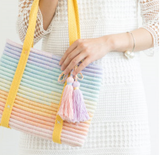 Shereo's crochet pattern of bright holiday shoulder bag