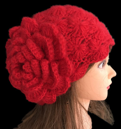 Pure handmade new style fashion big one flower crochet knitting hat style thick for winter#1004