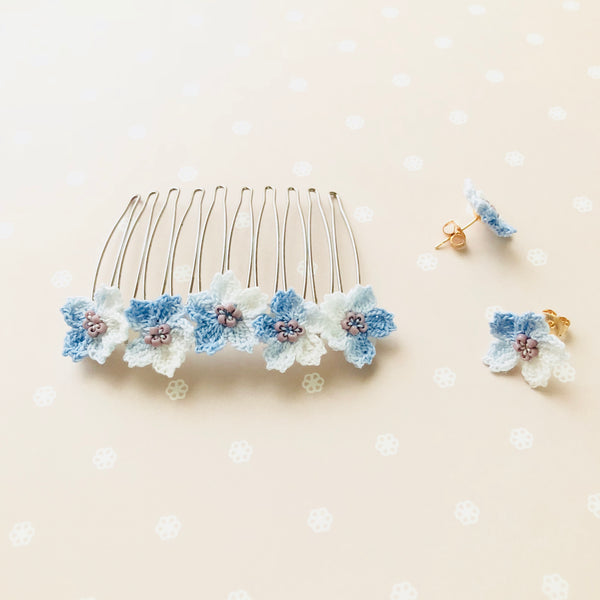 Shereo handmade creative snow flower crochet earrings stud a pair with hair comb a set