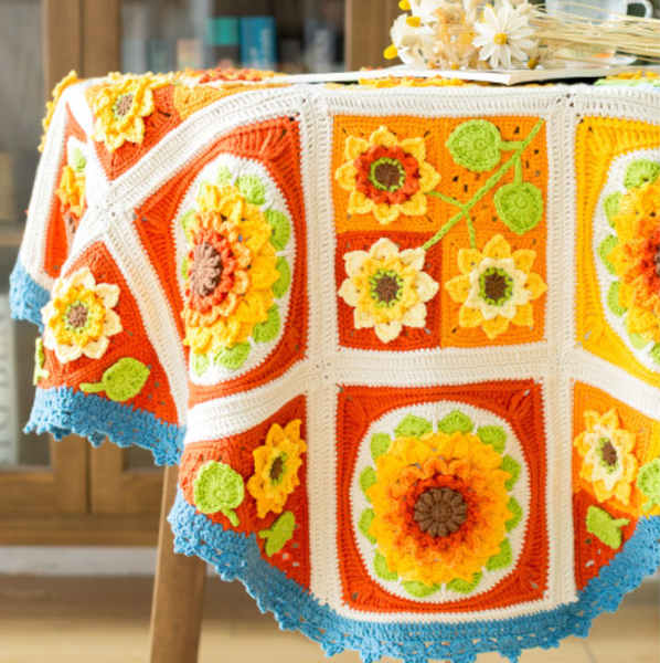 Shereo's crochet pattern+video tutorial of sunflower blanket