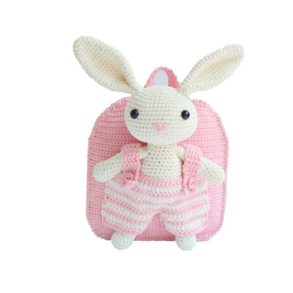 Shereo's crochet pattern+video tutorial of kid's rabbit crochet backpack