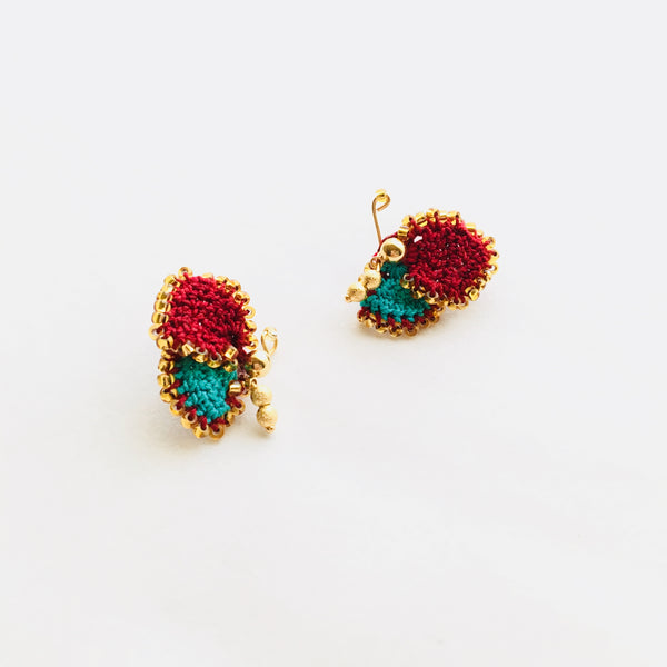 Shereo handmade fashion original unique creative blutterfly crochet Earring stud a pair