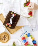 Shereo's crochet pattern+video tutorial of delicious cake tissue container