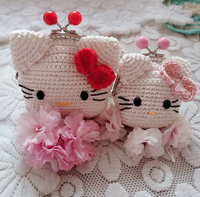 Shereo's crochet pattern+video tutorial of Hellokitty and Doraemon crochet clasp purse a pair