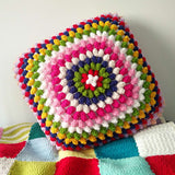 Pure handmade colorful pop corn square hold pillow contains pillow core