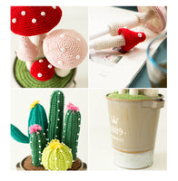 Shereo's crochet pattern+video tutorial of mushroom and cactus plant tub pen container