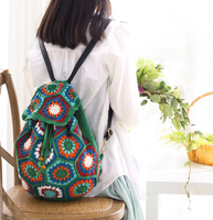 Shereo's crochet pattern+video tutorial of granny square latticed splicing crochet women's Backpack