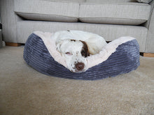 Load image into Gallery viewer, Grey Jumbo Cord Plush Dog Bed