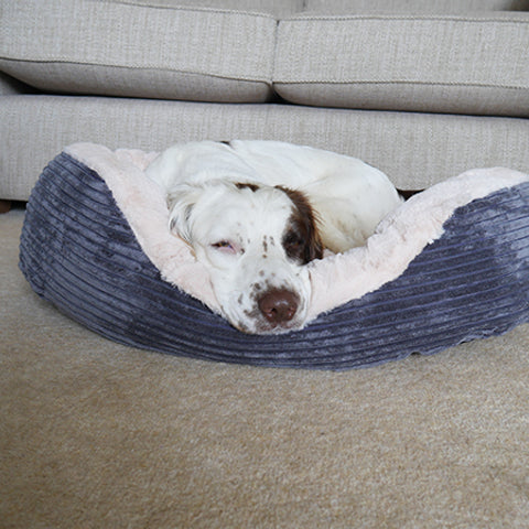 Grey Jumbo Cord Plush Dog Bed