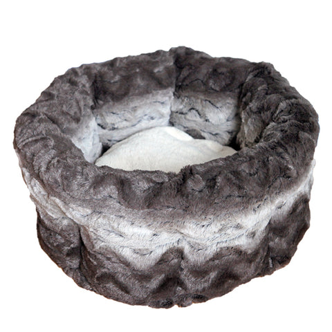 Grey and Cream Plush Round Bed