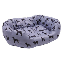 Load image into Gallery viewer, Padded Dogs Print Grey Oval Bed