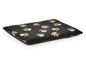 Paw Print Flat Bed Black