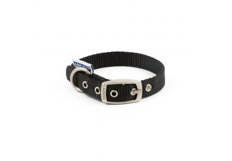 Nylon Padded Eyelet Collar Black