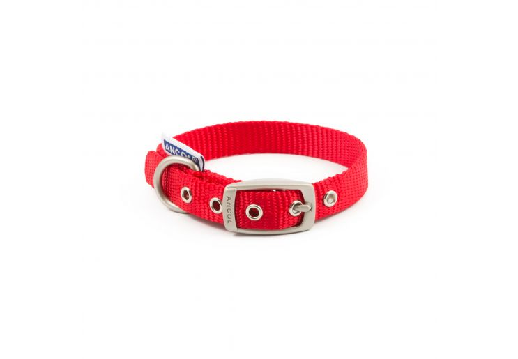 Nylon Padded Eyelet Collar Red