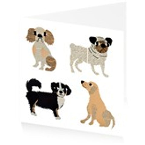 Single Greeting Card - 4 Dogs