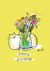 Single Greeting Card- Birthday Cat