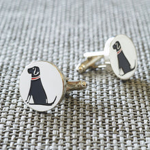Load image into Gallery viewer, Silver Plated Black Lab Cufflinks