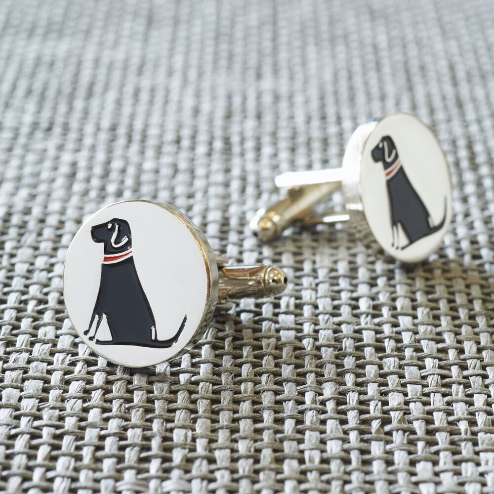 Silver Plated Black Lab Cufflinks