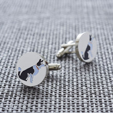 Load image into Gallery viewer, Silver Plated Border Collie Cufflinks