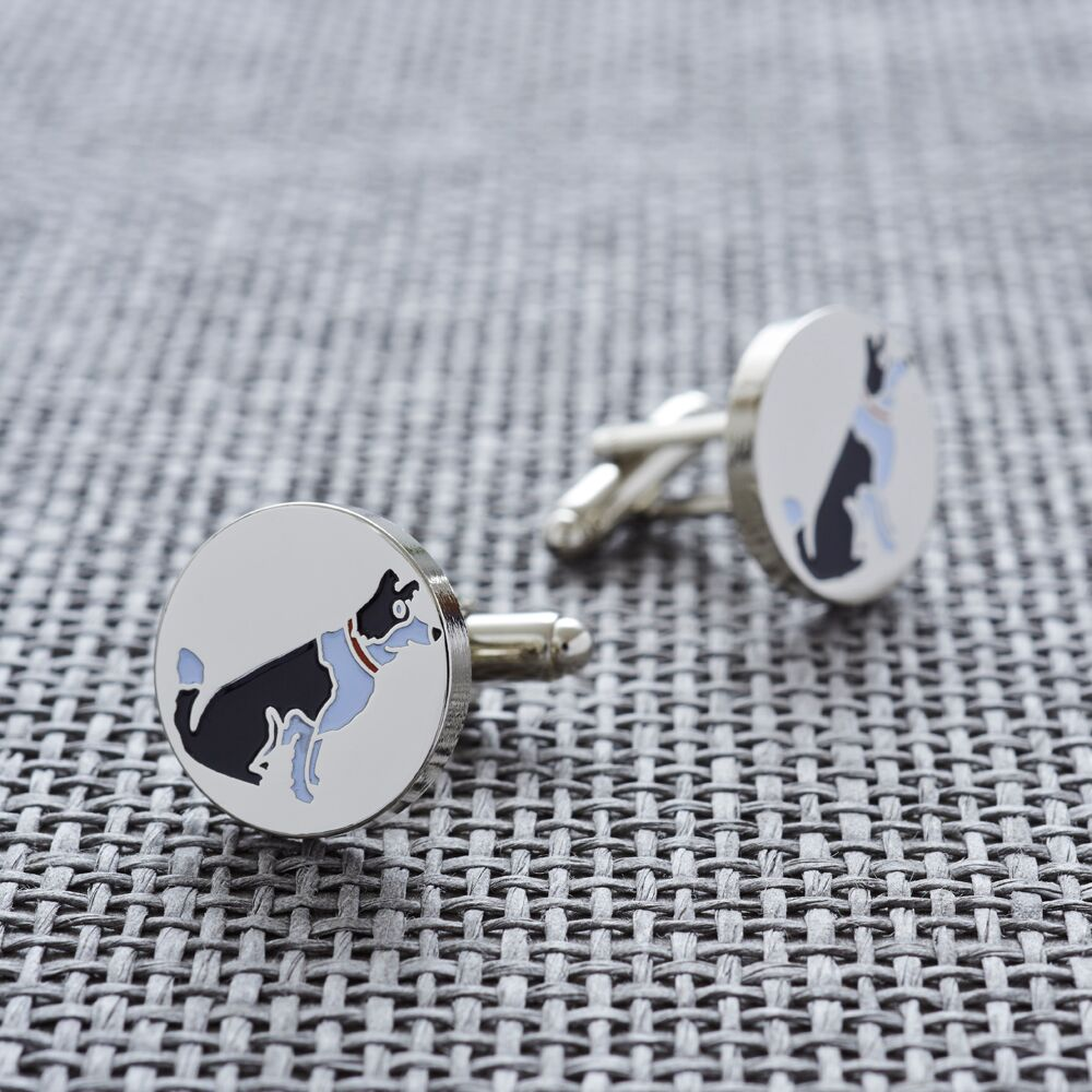 Silver Plated Border Collie Cufflinks
