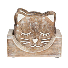 Load image into Gallery viewer, Set of Six Carved wooden Cat Coasters