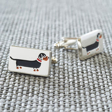 Load image into Gallery viewer, Silver Plated Dachshund Cufflinks