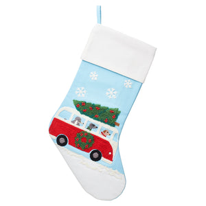 Dogs in Campervan embroidered stocking
