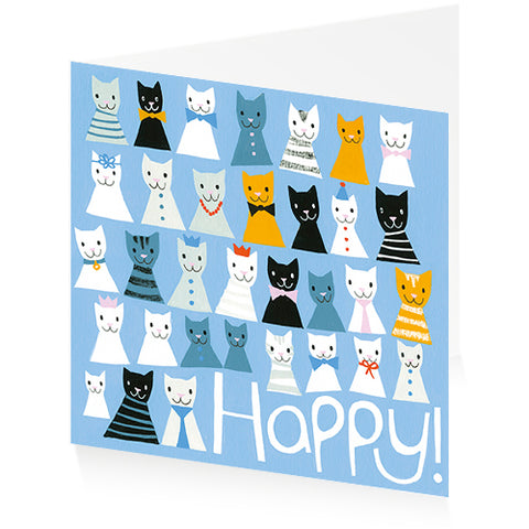 Happy Cats - Single Greeting Card