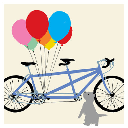 Single Greeting Card - Tandem Terrier