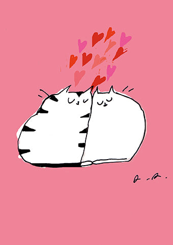 Single Greeting Card - Love Cats