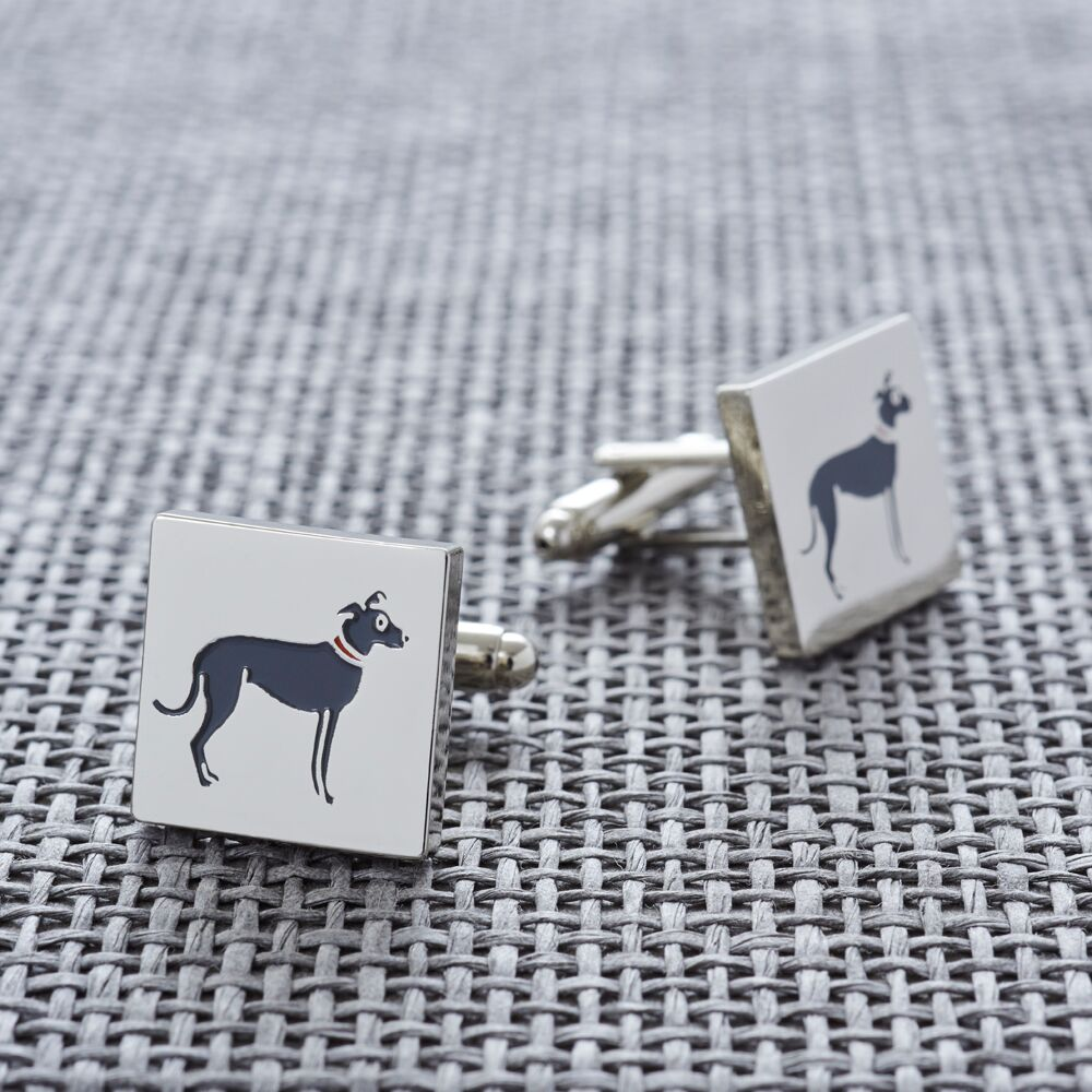 Silver Plated Lurcher Cufflinks