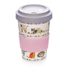 Load image into Gallery viewer, Curious Cat Bamboo Coffee Travel Mug