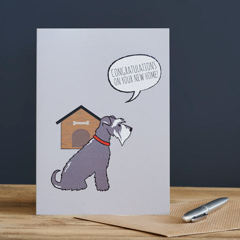 New Home Greeting Card - Grey Schnauzer