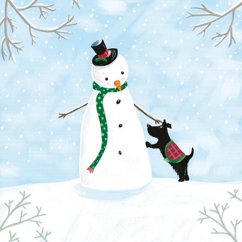 Snowman & Dog Christmas Card