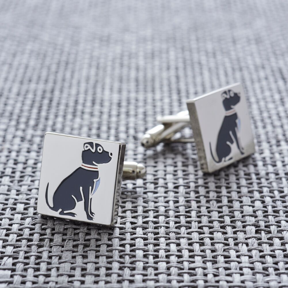 Silver Plated Staffie Cufflinks