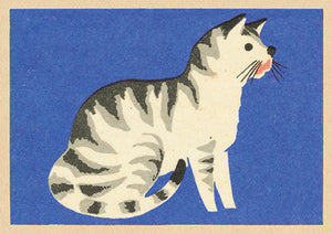 Single Greeting Card - Vintage Matchbox Stripey Cat