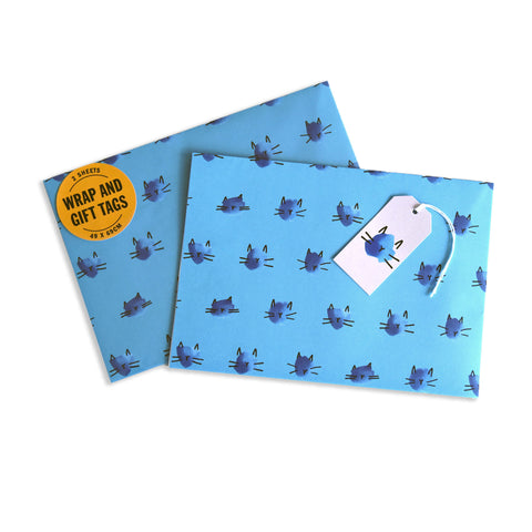Battersea Cat Gift Wrap Set - Blue