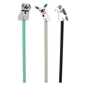 Set of 3 Pencils with Wooden Dog Topper