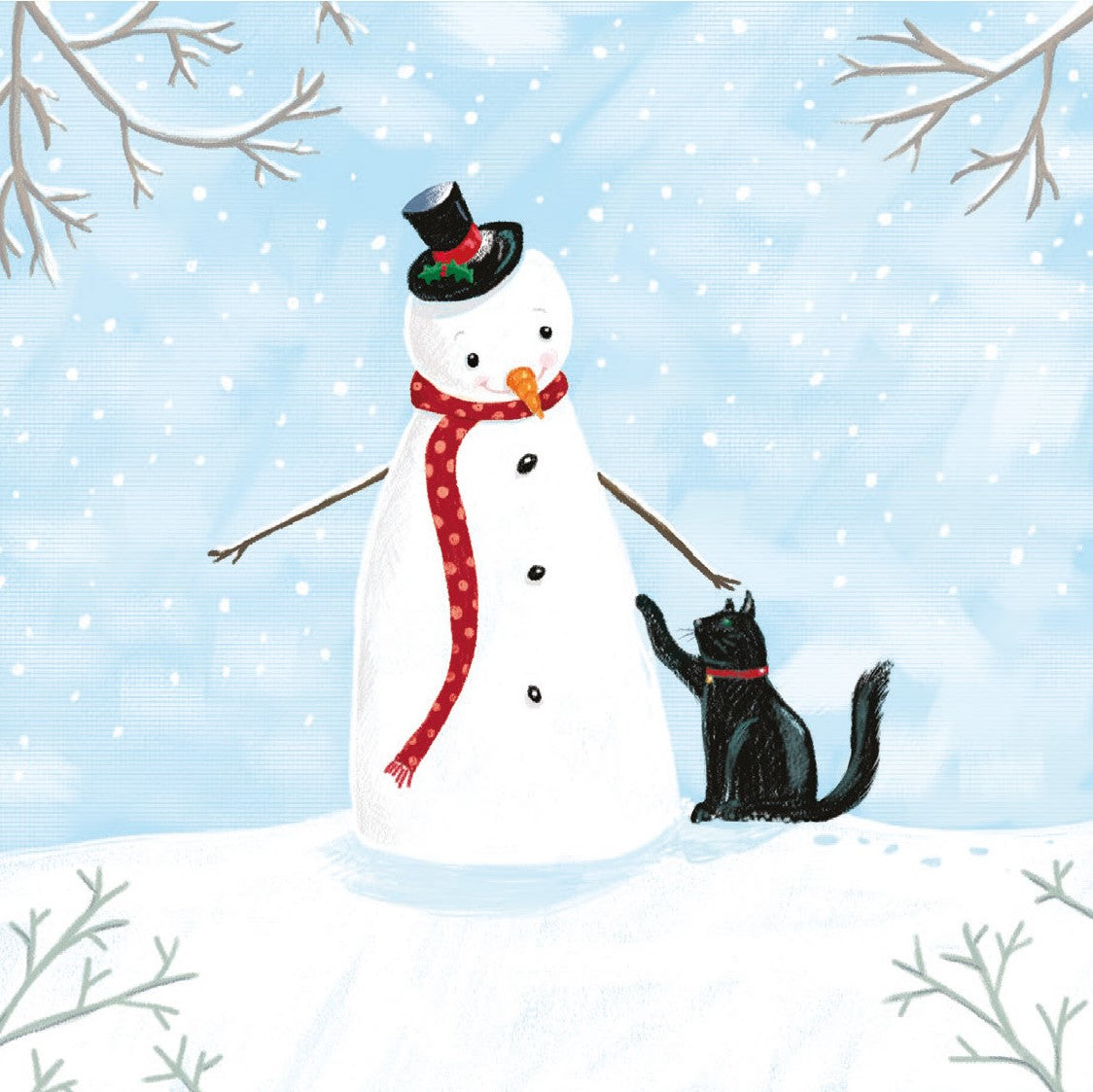 Snowman & Cat Christmas Card