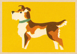 Single Greeting Card - Vintage Matchbox Terrier Dog