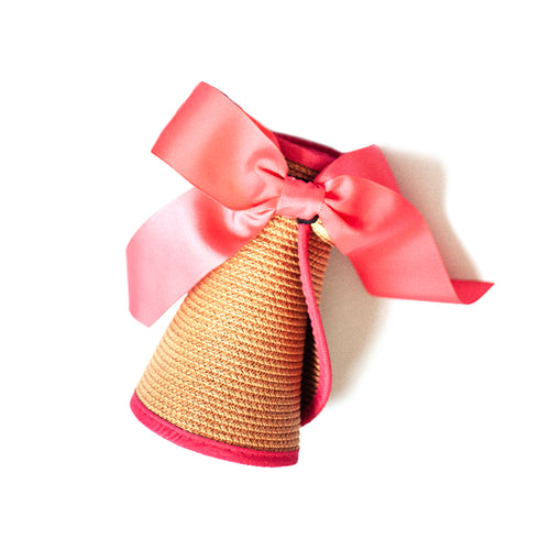 Straw Visor with Ribbon