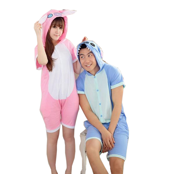 Short-sleeved Light Pink/Blue Stitch Onesies
