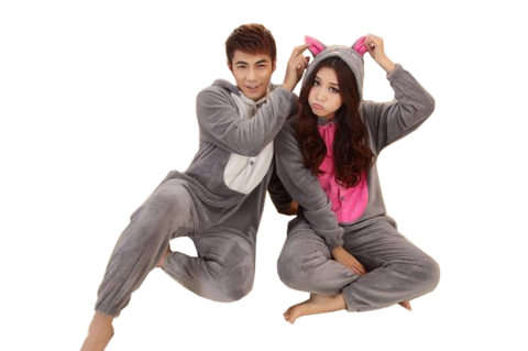 One Pair Gray Wolf Onesies