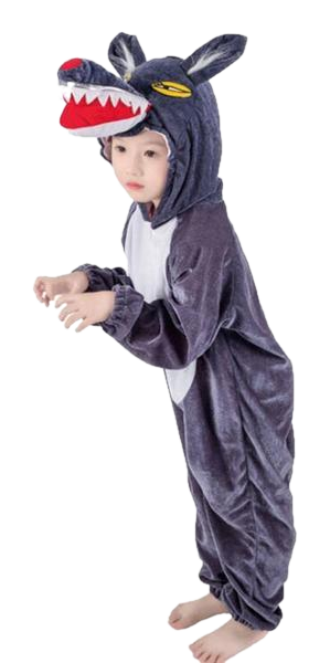 Kids Pouncing Wolf Onesies