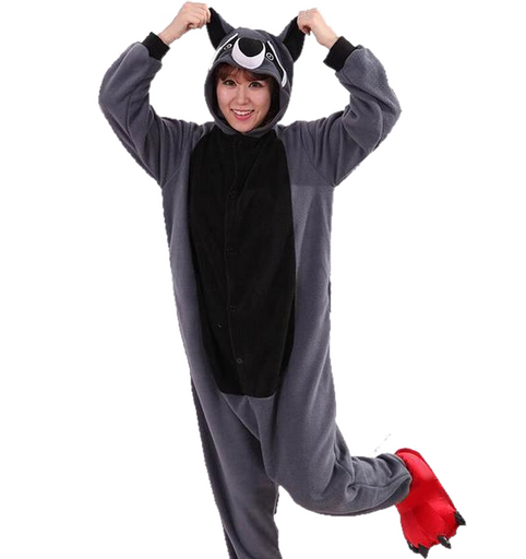 Gray Raccoon Adult Onesies