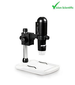Vision Scientific VMD003 1080P Full HD Wi-Fi Digital Microscope with 3MP Image Sensor, 220x Magnification, 6 LED Illumination with Intensity Control, USB, iOS/Android/PC Compatible