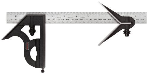 Starrett 11MEHC-300 Cast Iron Square And Center Heads With Regular Blade Combination Square, Black Wrinkle Finish, 300mm Size