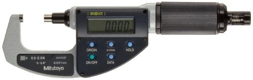 Mitutoyo 227-211 ABSOLUTE Digimatic LCD Micrometer, Friction Thimble, 0-0.6