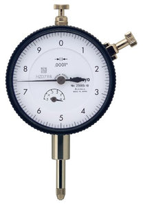 "Mitutoyo 2358S-10CAL Dial Indicator with Calibration, 4-48 UNF Thread, 3/8"" Stem Dia, Lug Back, White Dial, 0-10 Reading, 57mm Dial Dia, 0-0.5"" Range, 0.0001"" Graduations, -0.0008"" Accuracy"