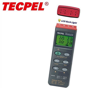 Tecpel digital 4 channel Thermo data logger with USB Cable , type k bead thermocouple DTM-319